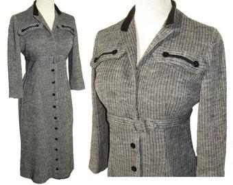 Vintage 60s Dress Modernist Charcoal Wool & Velvet Secretary Dress M