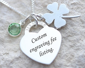 Laser engraving fee for selected items. Please contact me  before purchasing this service. Personalized Jewelry. Engraved jewelry. Custom