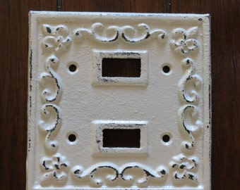 Light Switch Plate Cover/ Shabby Chic Switch Cover/ Cast Iron Switch Cover/Creamy White