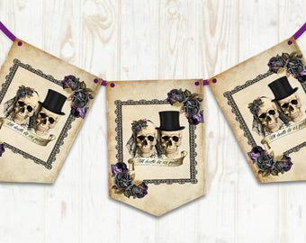 Skull Wedding Bunting Alternative wedding banner Gothic party decoration Death do us part Purple roses Skull banner decor