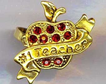 Vintage Garnet Apple Ring for Teacher . Red Rhinestone Apple . January Birthstone . Apple Ring - Number 1 Teacher by enchantedbeads on Etsy