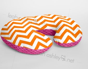 Boppy® Cover, Nursing Pillow Cover - Orange Chevron MINKY with Hot Pink MINKY Dot or MINKY Smooth - Choose Your Minky Type - BC2