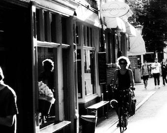 Amsterdam Street View Cyclist Black and White Photo Print