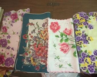 4 Vintage Floral Hankies