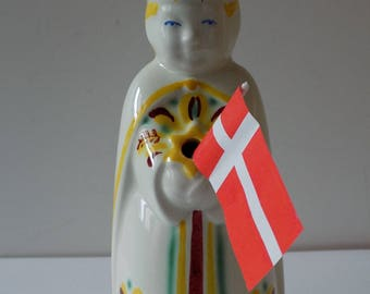 1935 -1940 King Candle/Taper Holder by  Nils Thorsson Royal Copenhagen Aluminia Faience
