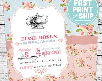 Printed Tea Party Shabby Chic Birthday Invitations and Envelopes