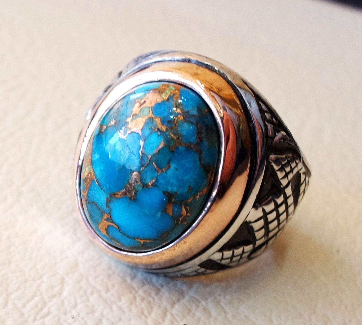 Turquoise blue natural copper stone ring sterling silver 925