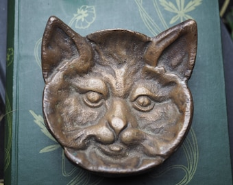 Cat Offering Dish - Vintage or Antique Brass Bowl for a Pagan or Wiccan Altar - Witchcraft, Magic, Ogham Tree