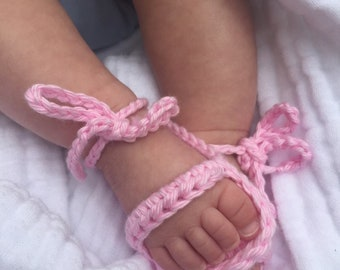 Pink Sandals, Crocheted Baby Sandals, Cotton Booties for Summer, Baby Shoes