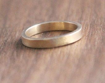 3mm Flat-Style Wedding Band, 14k gold, Men's, Ladies', ring, White or yellow gold, matte finish