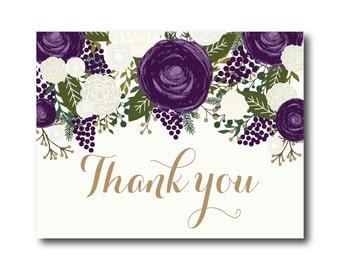 Vintage Wedding Thank You Card, Fall Wedding, Vintage Floral, Floral Wedding, Vintage Wedding, Wedding Thanks - Thank You Card #CL258
