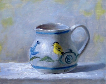"Creamer With Yellow Bird, 7"" x 7"", print of original oil painting"