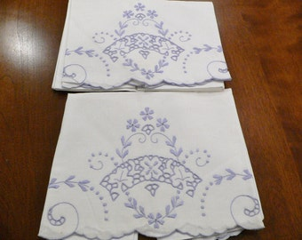 Vintage 1930's - 40's Embroidered and Cutwork Pillowcases Like New / Madiera Style