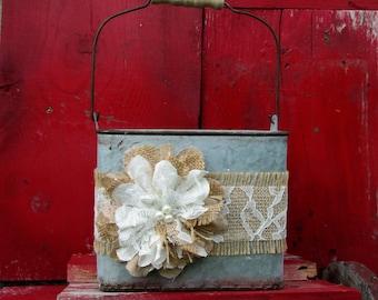 Wedding Bucket, Flower Girl Bucket, Rustic Flower Girl Basket, Wedding Basket for Flower Girl, Rustic Flower Girl Basket, Country Basket