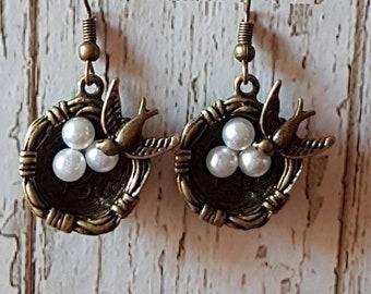 Handmade Birds Nest Earrings