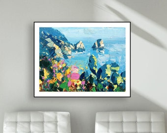 Capri Italy Seascape Isle Of Capri Prints Faraglioni Rocks of Capri Decor Italy Art Abstract Landscape Anniversary Gifts for Her Wife Gifts