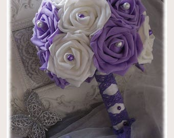 Bridal bouquet White Pink Purple and pearls