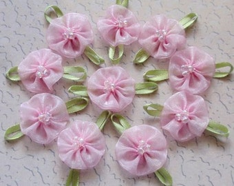 On Sale - 10 Handmade Flowers (Flower size 1 inches, Leaf size 2 inch) In Lt Pink MY-062-07 Ready To Ship