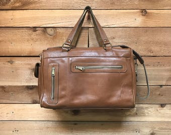 Vintage Weekender Duffel Bag Vtg Brown Leather Travel Messenger Bag Satchel