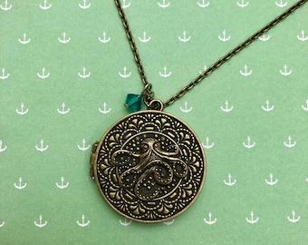 Antique Gold Octopus Locket Necklace