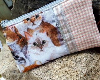 Cat Coin Purse, Kitty Zipper Pouch, Cat Earbud Pouch, Kitty Zipper Wallet, credit card pouch