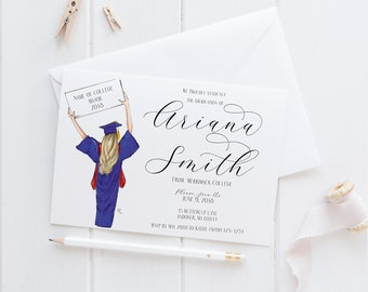 Custom Graduation Announcements/Invites (College Graduation Invites - Custom Graduation -High School Graduation - Grad Gift)