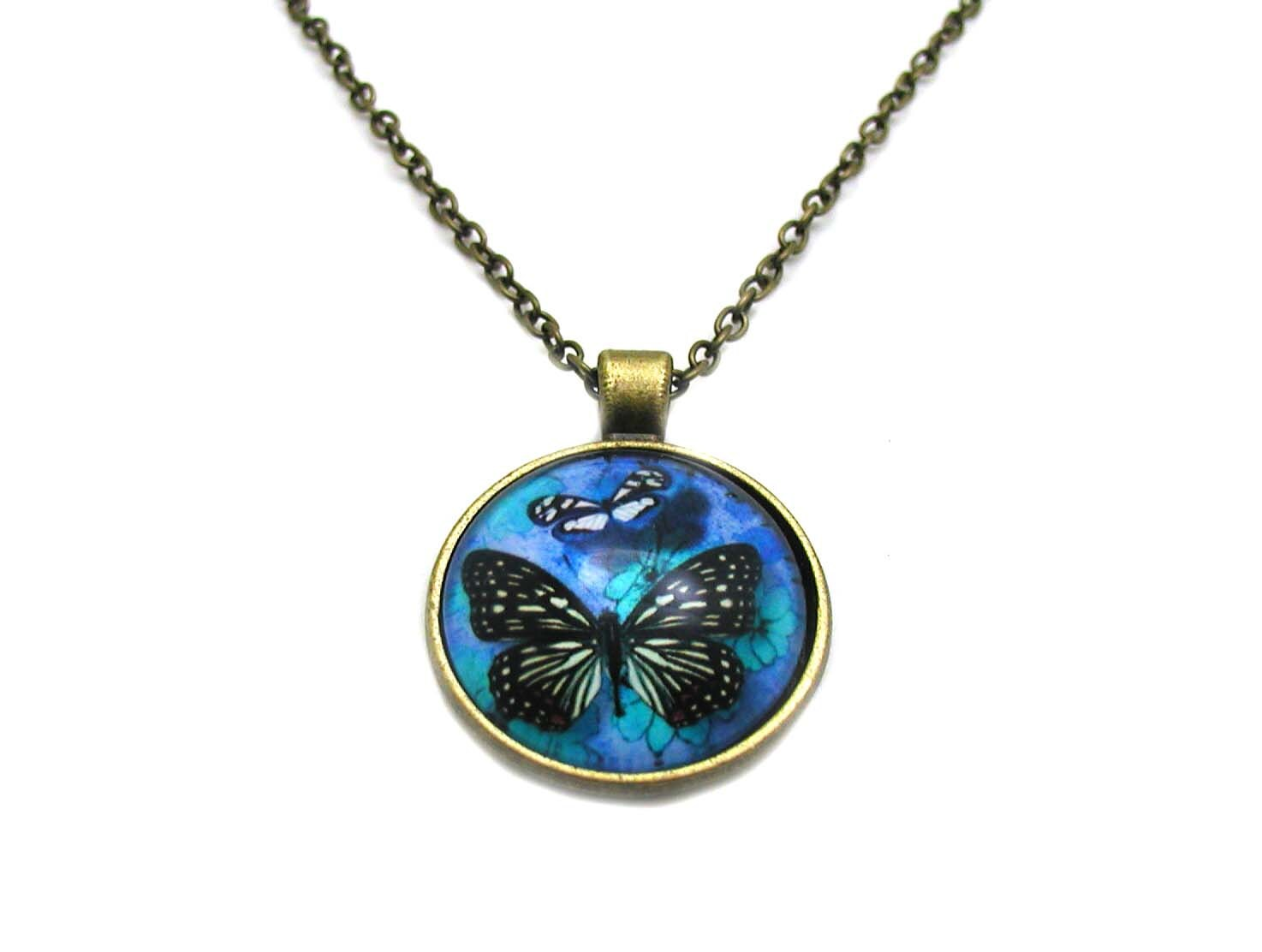 Blue Butterfly Jewelry: Blue Butterfly Necklace Blue Butterfly Cabochon Charm