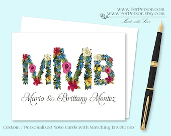 Free Ship!  Set of 12 Personalized / Custom Notecards, Boxed,  Flowers, Floral, Blank Inside, Initials, Monogram, Name