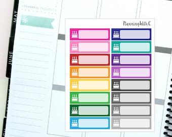16 Birthday/Cake/Occassion/Celebration Label Rainbow Multicoloured Themed Planner Stickers for Erin Condren, Kikki K, Filofax, Happy Planner