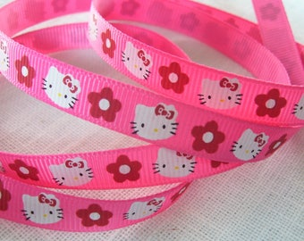 Ribbon grosgrain printed * 10 mm * white flower red KITTY Cat Head / Strawberry - sold by the yard
