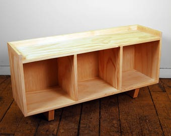 Three Cube Bench/Entertainment Center Finished/Unfinished Modern Minimalist Furniture