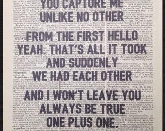 Nathan Sykes 'Over And Over Again'  Lyrics Vintage Dictionary Print Wall Art Print Romance Love Kiss First Dance Wedding