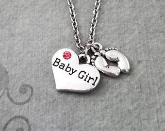 Baby Girl Necklace SMALL Baby Girl Heart Necklace Girl Jewelry New Mom Gift New Baby Present Baby Shower Heart Jewelry Baby Feet Necklace