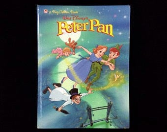 Disney's PETER PAN Book Large Hardcover Golden 1990