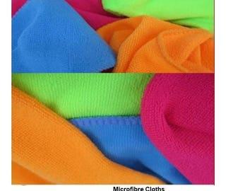 10 Pack MICROFIBRE Cleaning Cloths Various Colours - 30x30cm