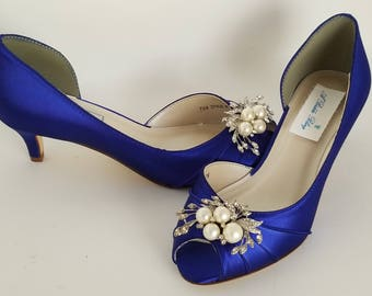 Blue Wedding Shoes with a Pearl and Crystal Cascade Blue Bridal Shoes Blue Kitten Heels 100 COLOR CHOICES Cobalt Blue Shoes Royal Blue Shoes