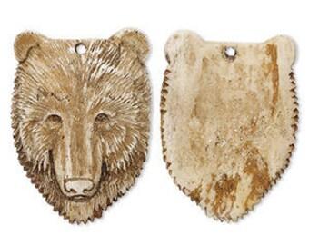 Bone Bead Pendant Bear Face Antiqued Color 45x32mm