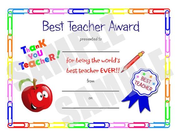 FLASH SALE Certificate Best Teacher Kids Certificate