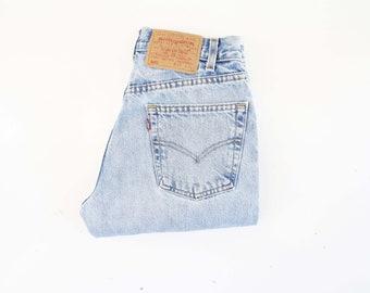 29 X 34 Vintage LEVI 505 Jeans UNISEX Light Wash Regular Fit Straight Leg High Waist Retro Denim