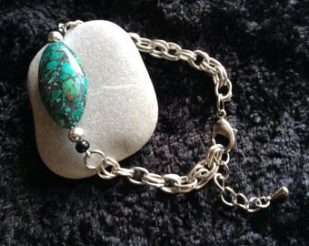 Turquoise Stone Silver Bracelet that is adjustable
