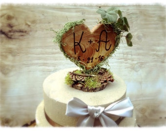 Unique Wedding Cake Topper - Rustic Wedding Cake Topper - Wooden Cake Topper - Heart Cake Topper - Rustic Wedding - Forest Wedding