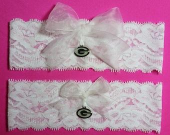 Green Bay Packers Wedding Garter Set  White Lace Handmade Wedding Garter Set with charms  Keepsake and Toss