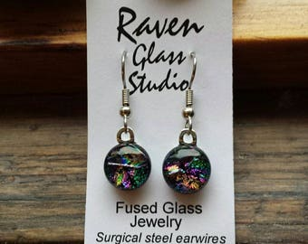 Fused dichroic glass earrings,  Fused glass jewelry, Art glass earrings, Dangle earrings, Kiln fired glass earrings, Fused glass, EA276