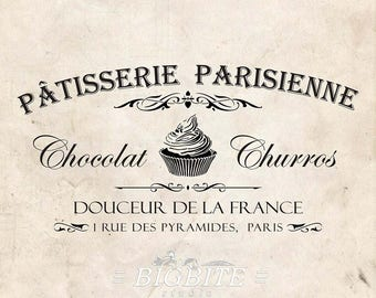 Water Slide Decal French Patisserie Parisienne Advert (Furniture Print Transfer) Typography Image Labels; #077