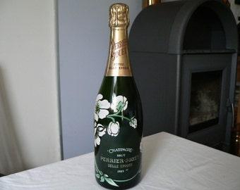 Vintage Perrier Jouet Cuvee Belle Epoque Art Nouveau design factice display champagne bottle -dummy bottle -EMPTY -made for French bars-'89