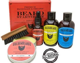 Ultimate Beard Grooming Kit Beard Care Men Kit Beard Grooming Kit pear brush boar bristle beard oil balm shampoo-conditioner Surtic
