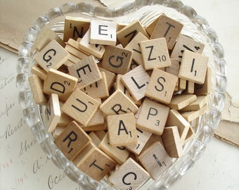 Bulk Scrabble Tiles. Lot of 50 Vintage Wood Scrabble Letters. Upcycled Eco Friendly Altered Art Repurposed Jewelry Crafting Destash Supplies