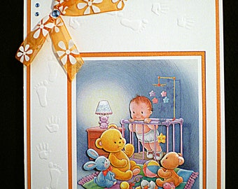 White and orange Birth Cards