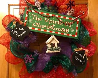 The Spirit of Christmas Deco Mesh Wreath