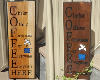 COFFEE Christian Gift Handrouted Cherry Walnut Cedar Wood Sign Engraved Church Counter Bar